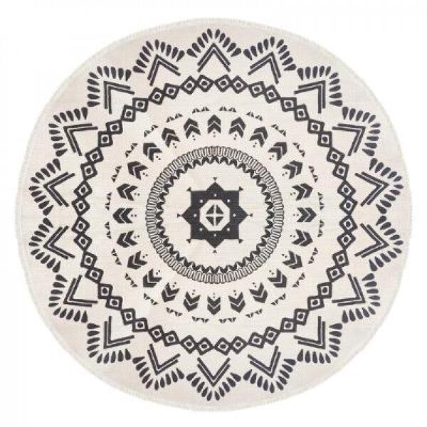 Paklājs, apaļš, d120, balts ar melnu
