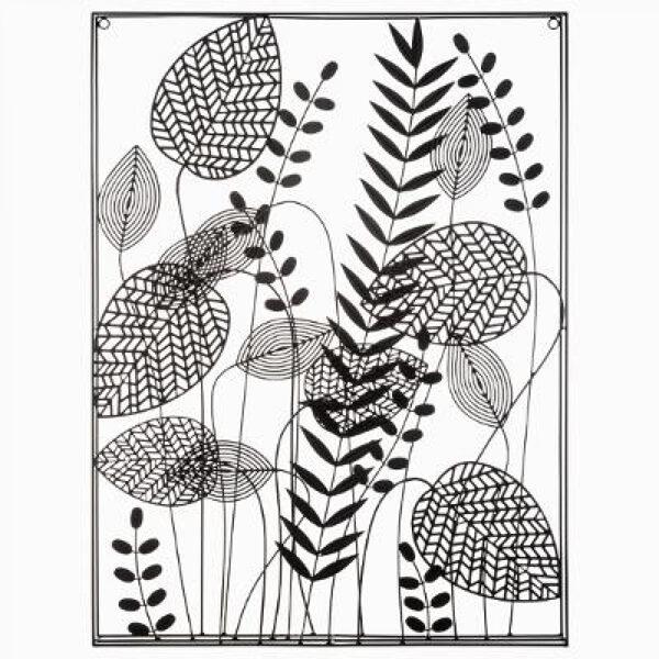 Sienas dekorācija metāla lapas 61x80, melna
