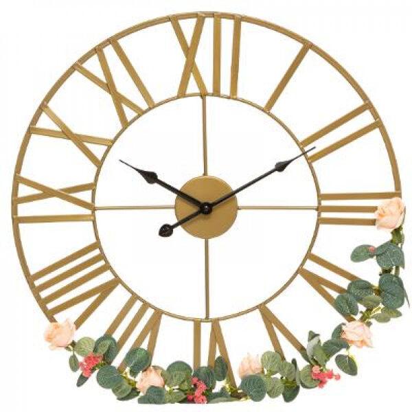 Sienas pulkstenis, Zieds, metāla, d50, bronza
