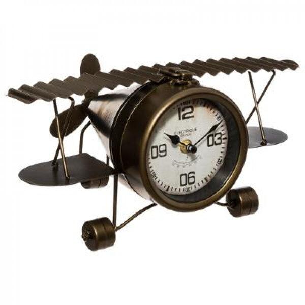 Metāla lidmašīna pulkstenis, melns