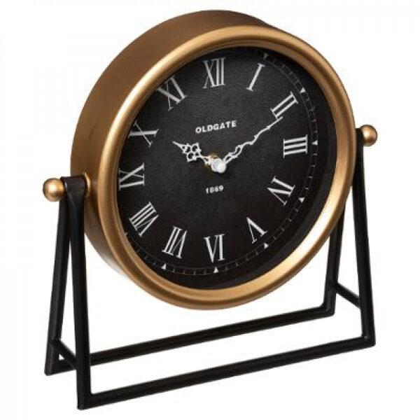 Galda pulkstenis, metāla, 26x26, melns