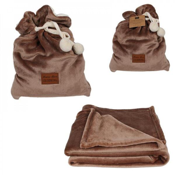 Pleds maisiņā, Flaneļa, pelēkbrūns 120x150cm