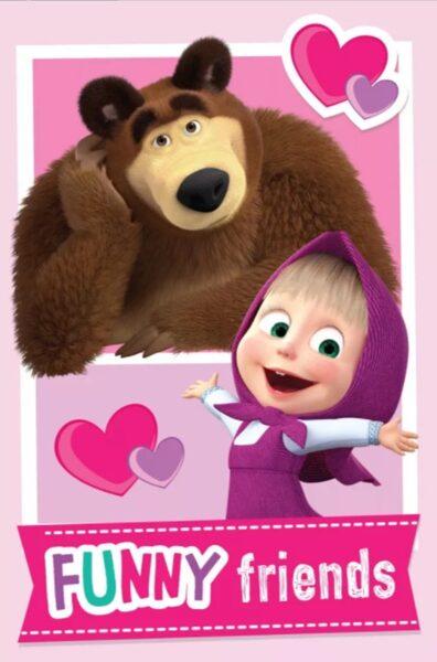 Flīsa pleds Masha and the Bear 100x150